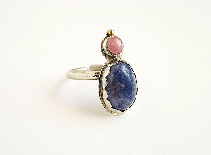 Silverplated ring, sterling silver ring, sodalite, rhodochrosite, pink , blue, boho, statement ring by kosmojewellery on Etsy