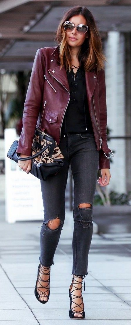 burgundy leather jacket for fall.