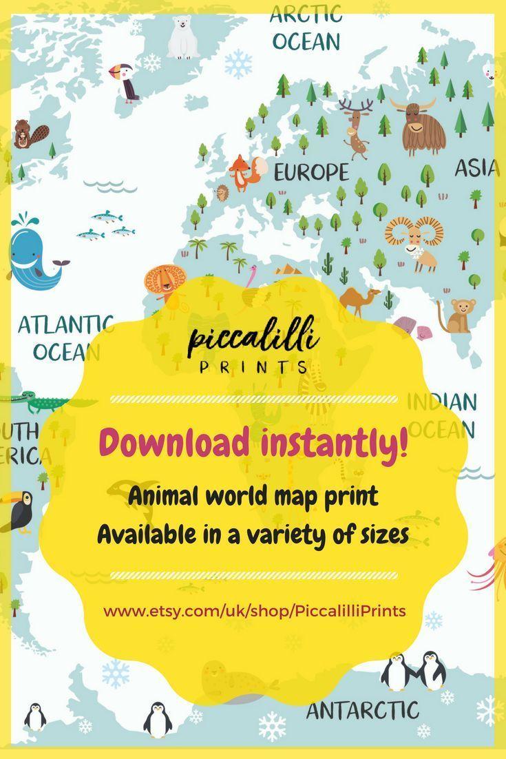World map poster, nursery decor, travel map, world map canvas, baby ...