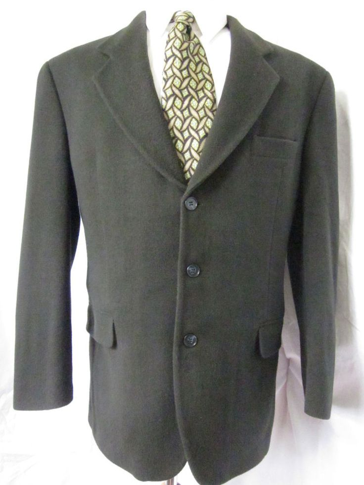Jacket 40 R Cashmere Wool 3 Button Green Sport Blazer Coat Mens Casual Formal