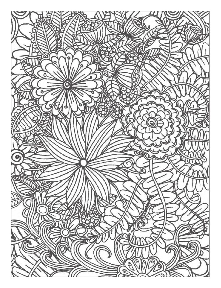 78 Images About Coloring Pages To Print Flowers On Detailed Flower Coloring Pages