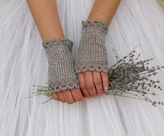 EMILY Crochet Fingerless Lace Bridal Gloves in midnight silver grey