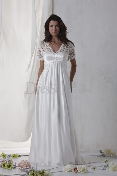Latest look empire wedding dress with cute lace capped for Sleek wedding dresses with sleeves