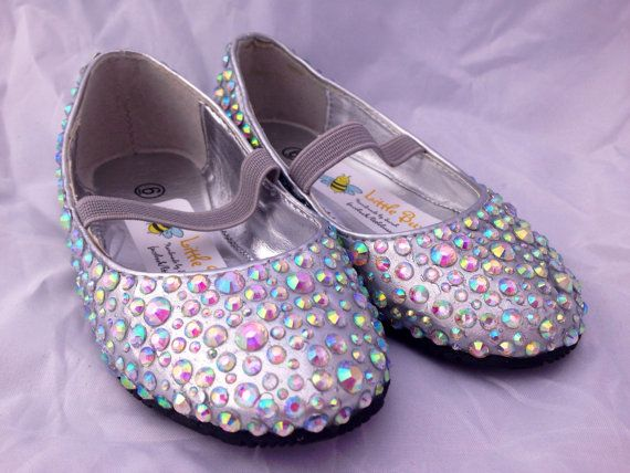 Girls Silver Sparkle Party Shoes by LittleBuzzyBee on Etsy. Perfect for a flower girl at a wedding. #sparkle #wedding #flowergirl