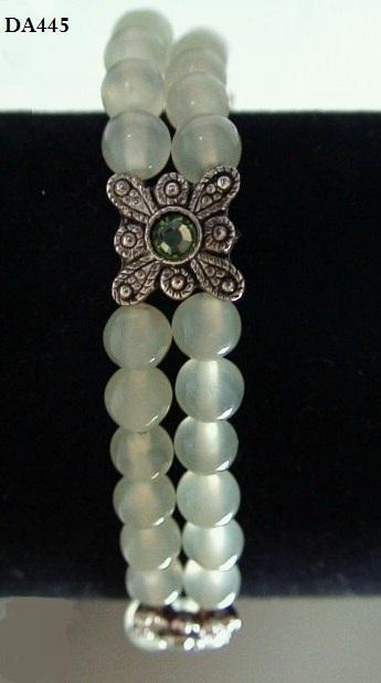Undyed Natural Jade Jadeite Double Strand Filigree Stretch Bracelet