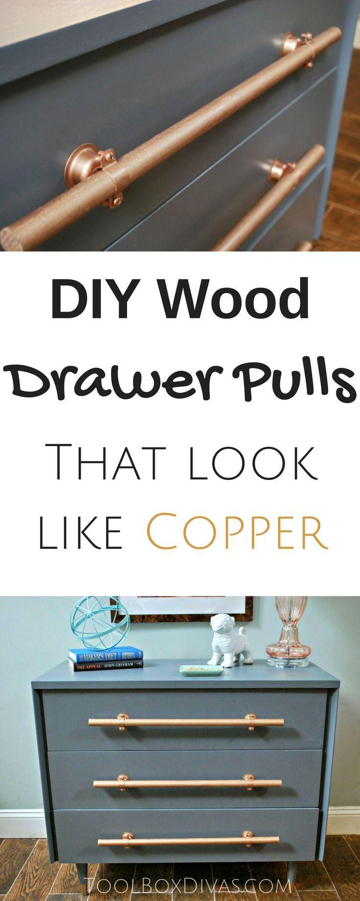 Furniture makeover. $19 thrift store find of a dresser. Handmade DIY wooden drawer pulls handles. #DIY #furniture #pulls #copper
