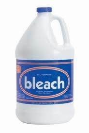 Bleach - 6% Sodium Hypochlorite: Soak empty tank/bowl, net, tank accessories, filter, heater, etc in a mixture of 1 part bleach to 20 parts water. Let sit for 1 hr. Rinse. Dry. Let sit for a couple days (in sunlight is even better). You can only bleach safely plastic and glass. If serious disease outbreak: throw away all live plants and filter media, bleach everything, bake gravel (450F for about an hour - or toss), let all dry for 2 days. The more you toss, the better.