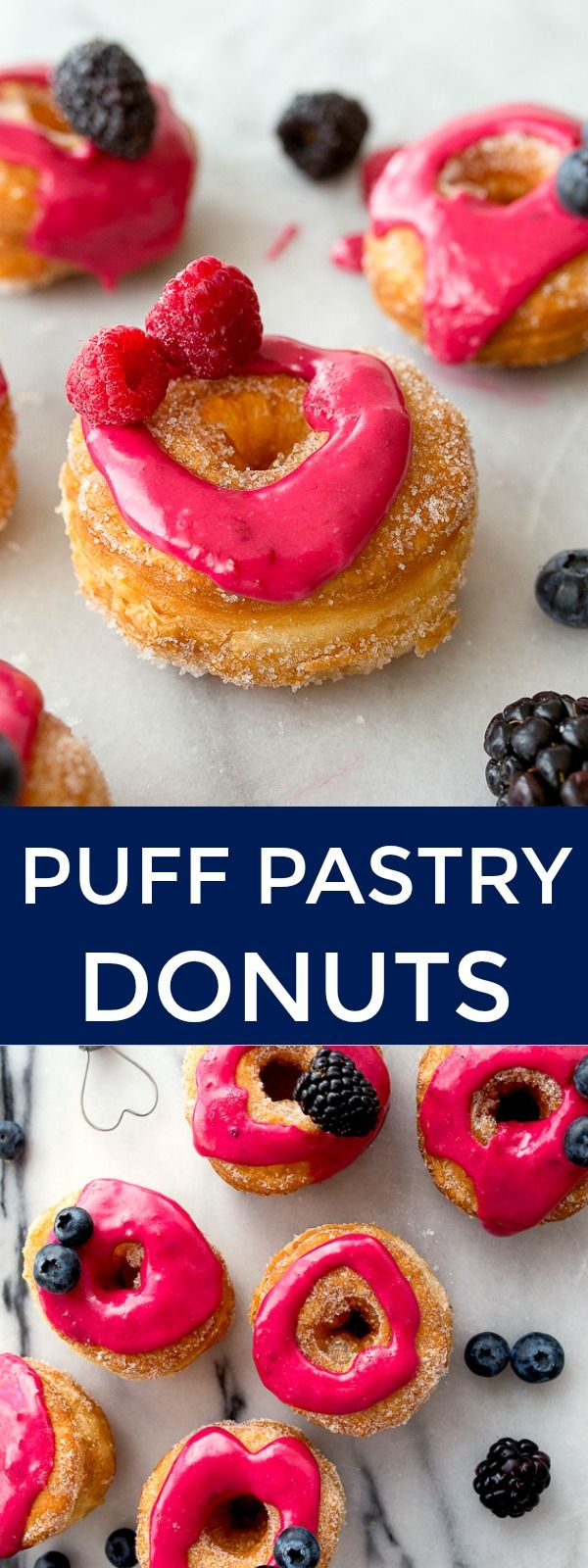 Homemade cronuts made from fried puff pastry dough. One box makes 6 donuts. Small batch donuts. Homemade fried donuts. Fried doughnuts at home.