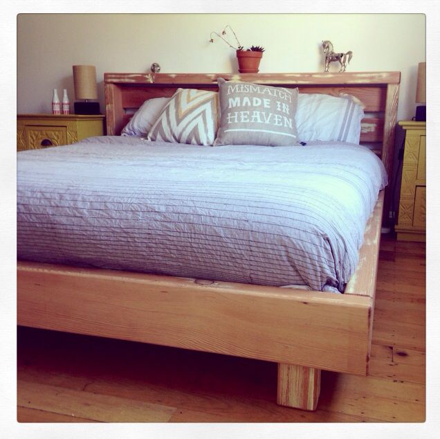 Queen Size Bed Frame made using recycled Oregon. Custom orders can be organised via www.2eight3.com.au