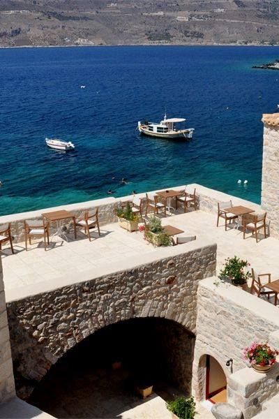 Μάνη ~ Mani, Lakonia  Σε παίρνει πάλι η θάλασσα των δυνατών σινιάλωνκι εγώ σου λέω πως αλλού είναι η ζωή των άλλων…..  photo source:Greece Art & Architecture