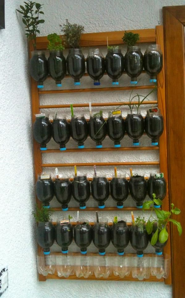 Horta vertical feita com grade do berço e garrafas PET cortadas. Observe que a água escoada passa de um vaso para outro e depois é armazenada no recipiente da última fileira, impedindo que suje o chão