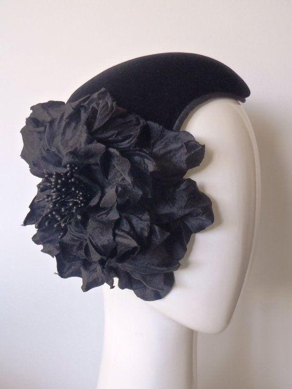 Velvet Noir.  Little Black Hat #3.  1950s style cocktail hat by GreerMcDonaldHats, $249.00 www.greermcdonaldmillinery.com.au
