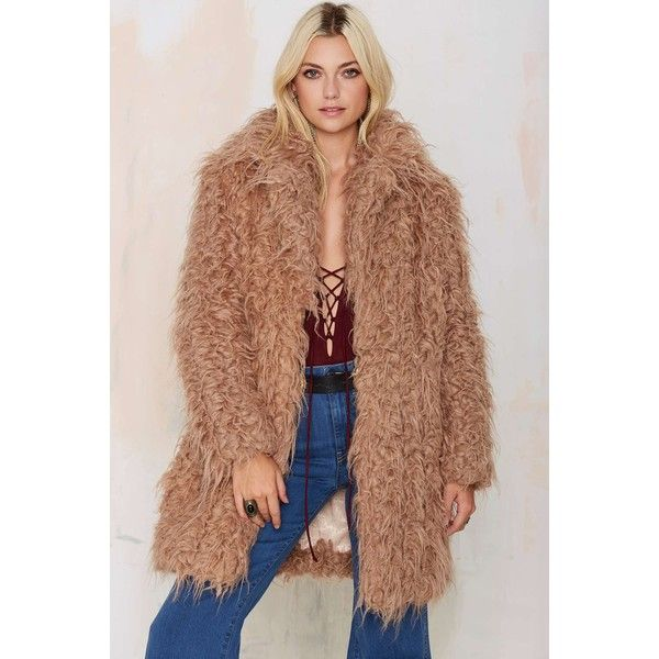 Super Trash Orson Faux Fur Coat ($240) ❤ liked on Polyvore featuring outerwear, coats, beige, high collar coat, imitation fur coats, fake fur coats, faux fur coats and beige coat