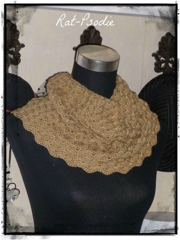 Snood caramel color, explanation and French in PDF!