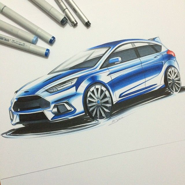 """#ford #focus #rs #design #sketch #sketchzone #thesketchmonkey #cardesign #copic #marker #industrialdesign #car #render"""