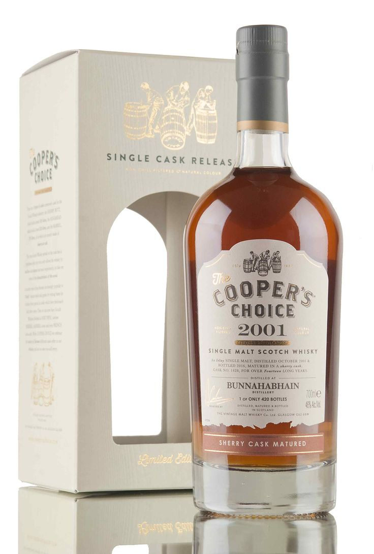 An Islay single malt Scotch whisky, distilled at the Bunnahabhain distillery, October 2001 and matured for 14 years in sherry cask #1428. Bottled in 2016 by The Vintage Malt Whisky Co. for their Coopers Choice range, 420 bottles filled.