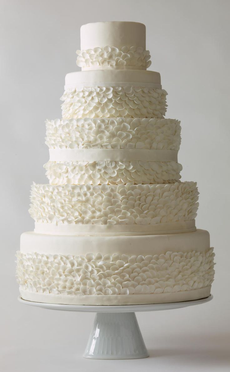 White lace texture bridal layered ruffled - 25 Prettiest Wedding Cakes