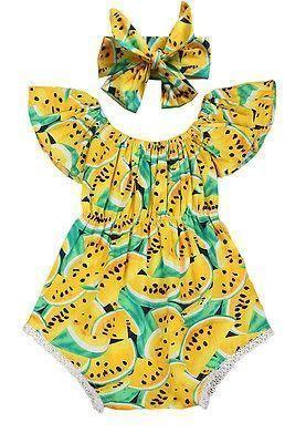 Lemon Baby girl Summer Romper #ParentingIdeas