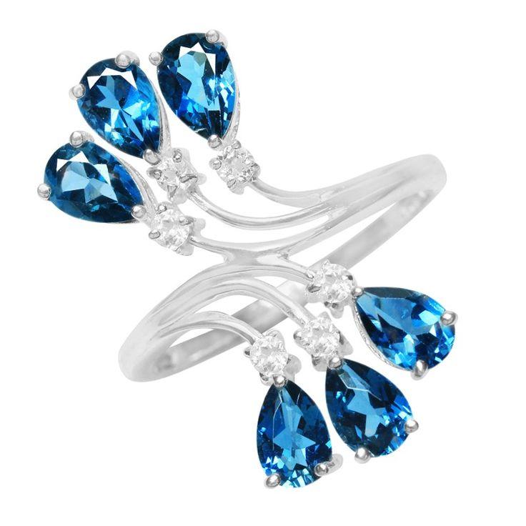 Bague en argent et Topaze bleu de Londres-Réf 1291HE - Bijoux Juwelo