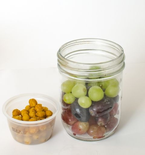 Healthy Snacks in Jars - Grapes + Chickpeas