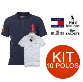 KIT 10 CAMISAS POLO MARCA MISTA - LACOSTE | HOLLISTER | TOMMY | RALPH