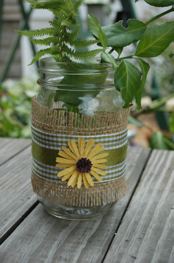 Decorated Mason Jar with Burlap and green by PineknobsAndCrickets, $7.50