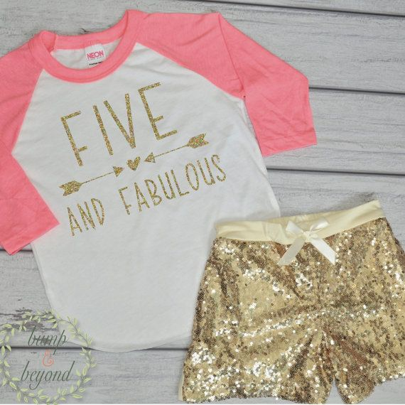 5th Birthday Outfit for Girls, 5 Year Old Birthday Shirt, Five and Fabulous Girl Fifth Birthday Outfit by BumpAndBeyondDesigns
