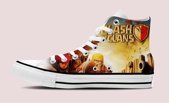 Clash Of Clans HI-TOP White Unisex TRAINERS, shoes