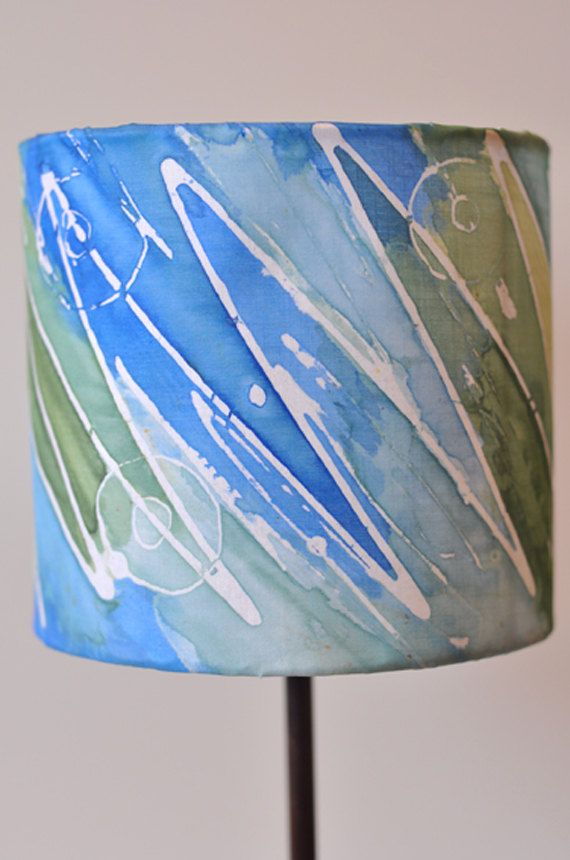 lamp shade blue hand painted silk by hanih on etsy. Black Bedroom Furniture Sets. Home Design Ideas