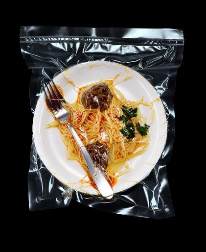 Spaghetti with meat balls shrink wrapped #food #photography #art