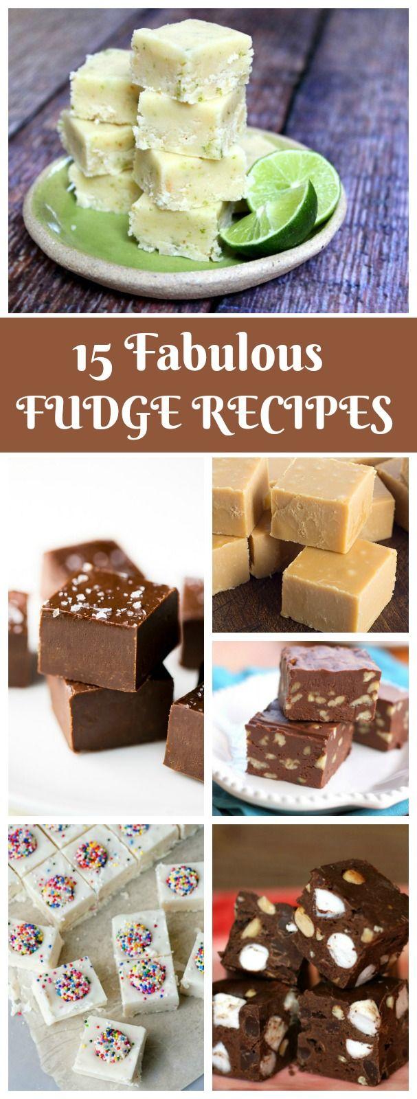 15 Fudge Recipes:  Classic Fudge, Sees Copycat Fudge, S'Mores Fudge, Key Lime Fudge, Snickerdoodle Fudge and more!