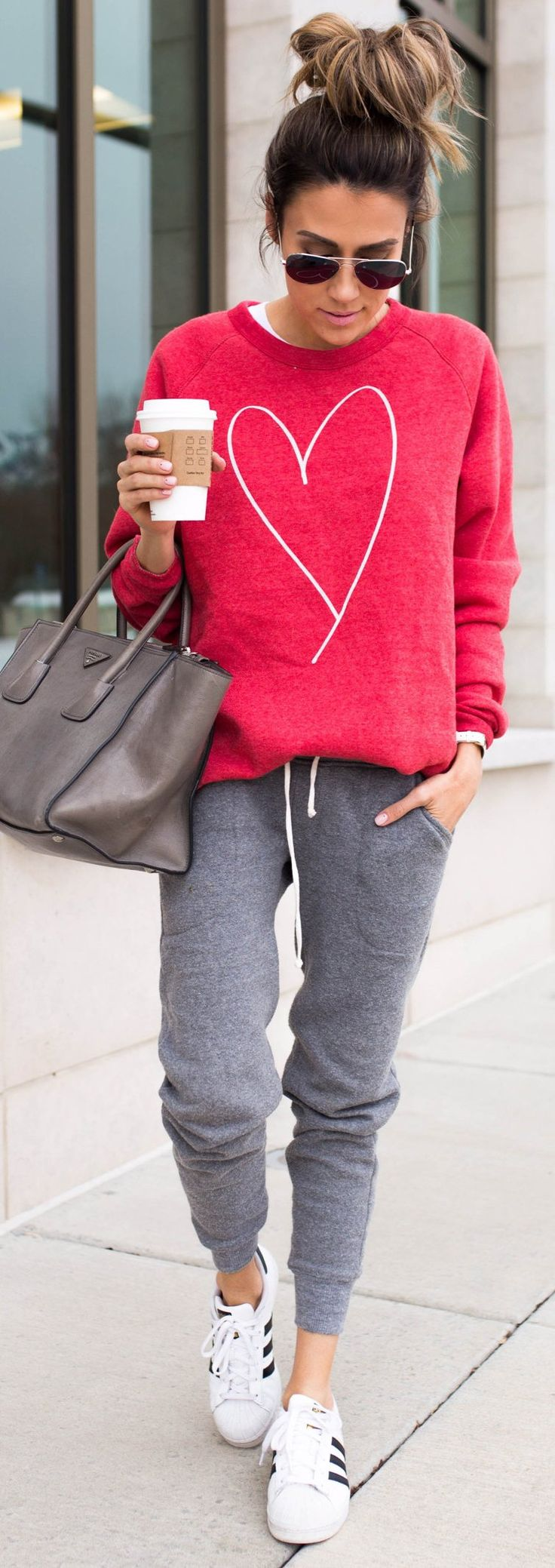 #spring #fashion / Red Heart Print Sweater / Grey Pants / White Adidas Sneakers https://bellanblue.com