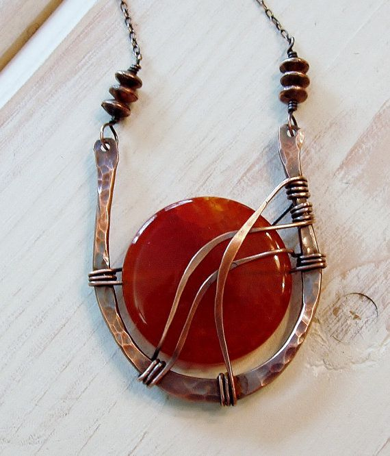 Rusty Red Agate Wire Wrapped in Hammered by SandiFasanoDesigns, $87.00