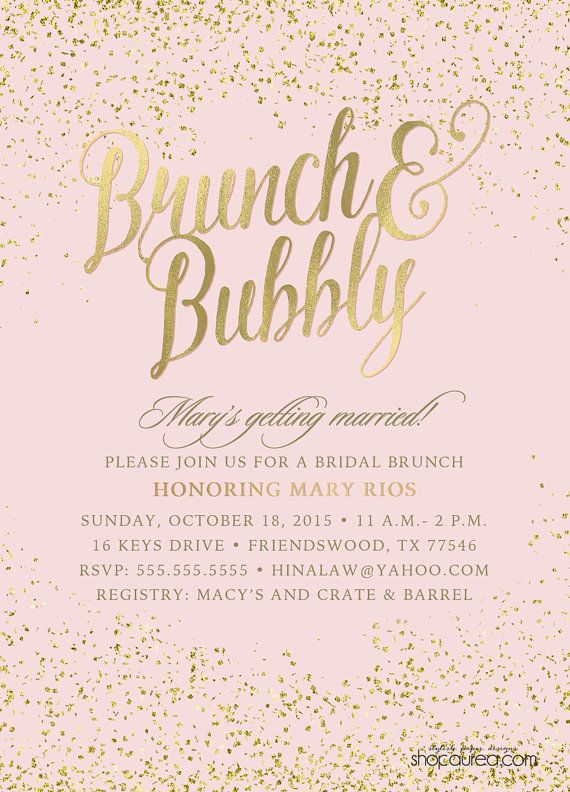 Brunch & Bubbly Bridal Shower Invitations - Blush and Glitter - Gold Foil - Gold Confetti - Bridal Brunch - Bride