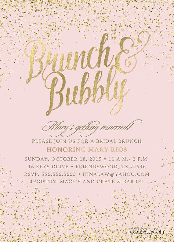 Brunch & Bubbly Bridal Shower Invitations by ShopAureaInvites