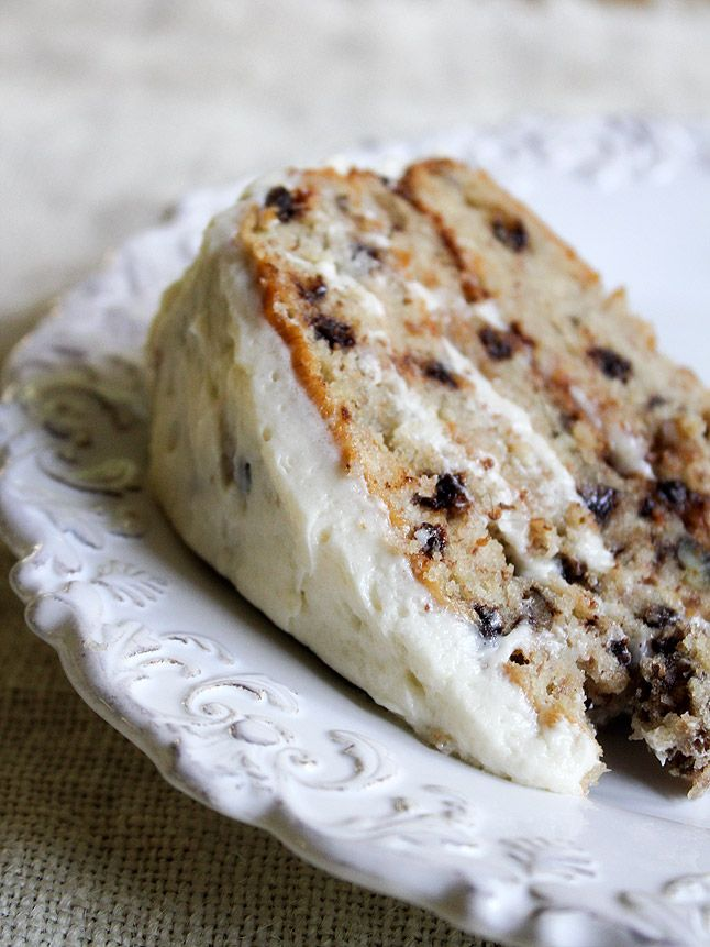 Chocolate Chip Banana Cake. That frosting looks delicious... maybe I'll try it on my banana chocolate chip bread