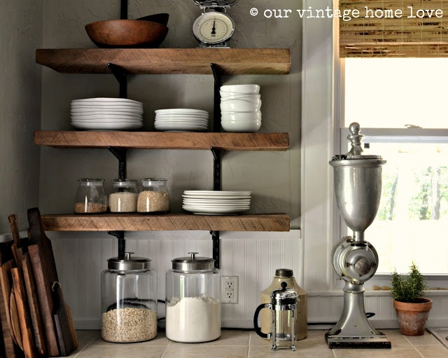 Our Vintage Home Love - I want to do these shelves asap above my stove. Love the rough/reclaimed wood and open simplicity.