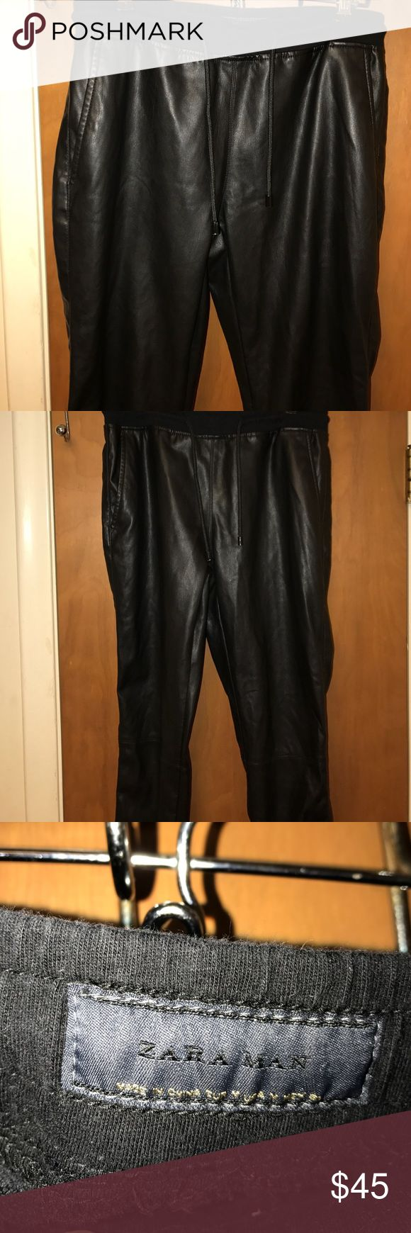 Zara Man Faux Leather Pants -M Like New Condition. Worn for short time twice . 30 in inseam Zara Pants Sweatpants & Joggers