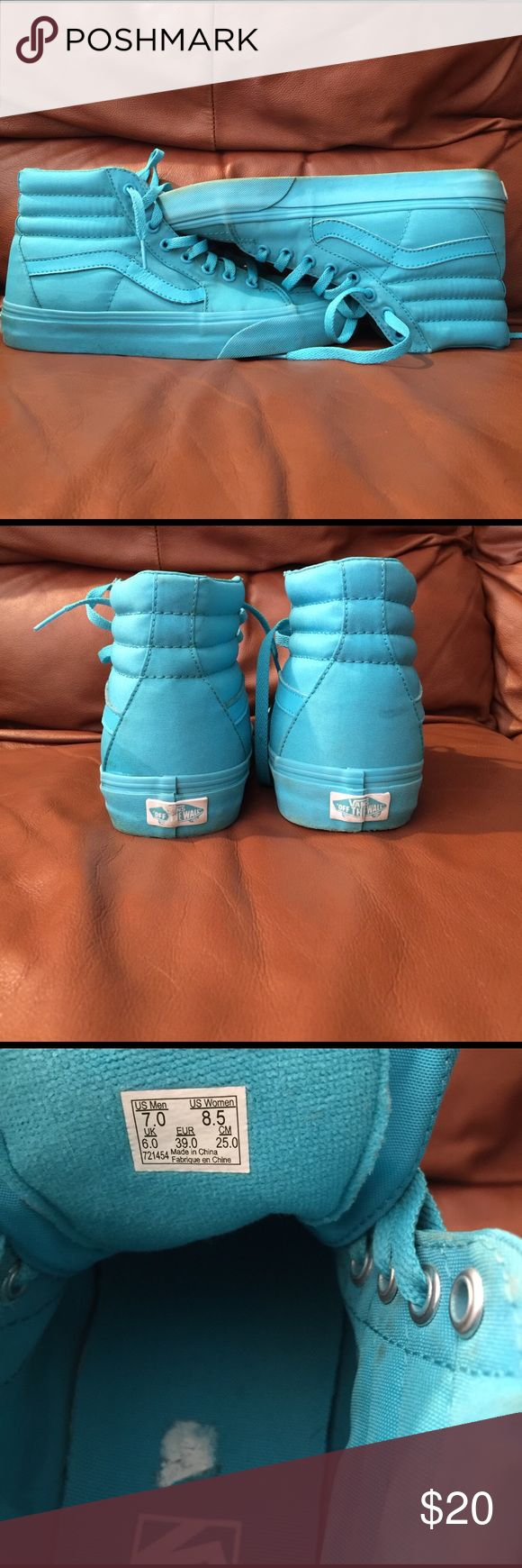 Vans high tops skate shoes Used baby blue high top vans skate shoes! Sold for 60 now selling for 20. #womensshoes #vans #babyblue #womensvans #hightopvans #boysvans #menssize7 Vans Shoes Sneakers