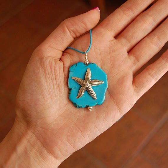 Stunning howlite pendant Starfish pendant Sterling silver
