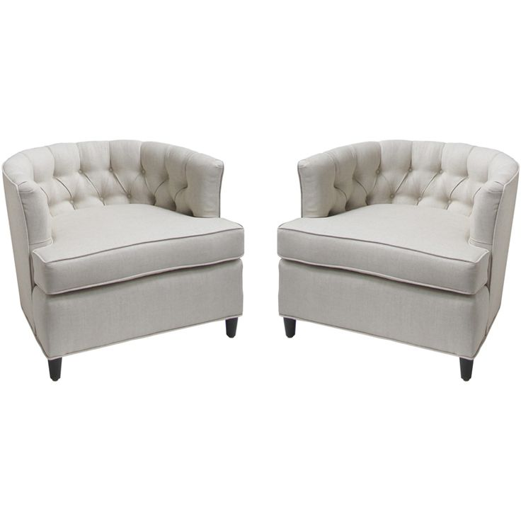 Wonderful Pair Of Tufted Barrel Chairs Idea