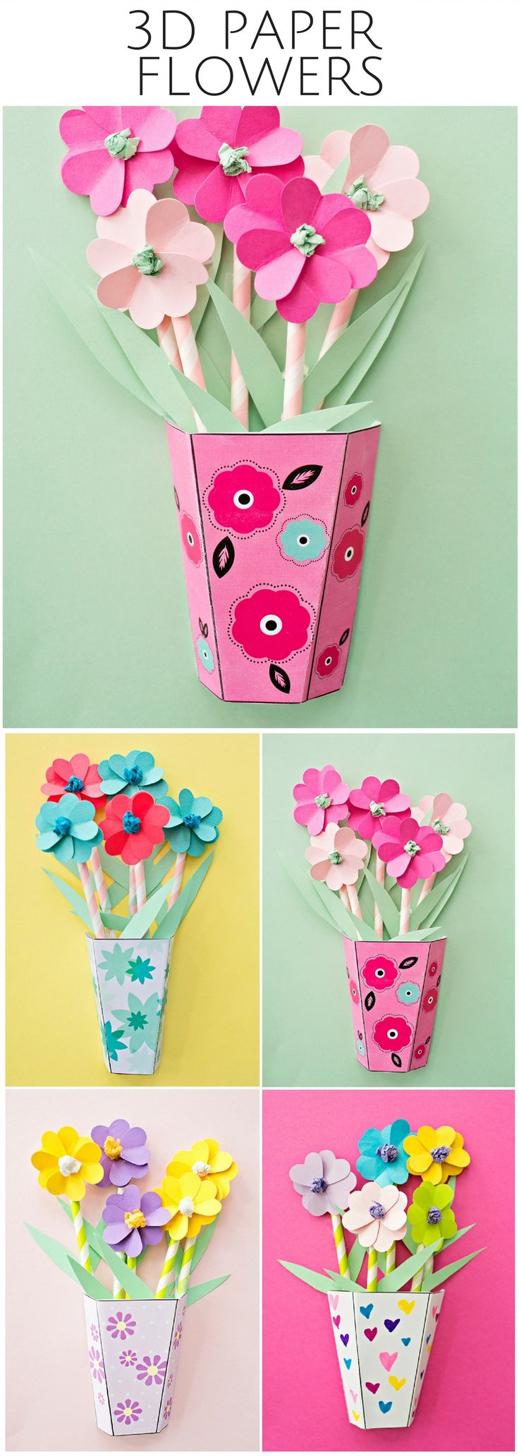 How to make 3D Paper Flower Bouquets with Video and Free Templates. Great gift for Mother's Day and paper craft for kids!