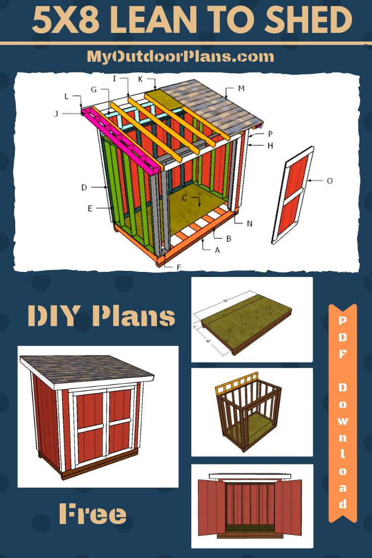5×8 Lean to Shed Plans Free PDF Download Lean to shed