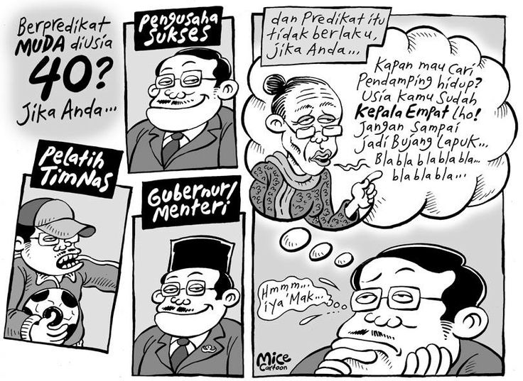 Mice Cartoon, Kompas 15.12.2013: Muda di usia 40