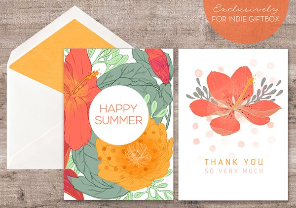 Happy Summer Tropical Greeting Card Set by Erin McManness, via Behance