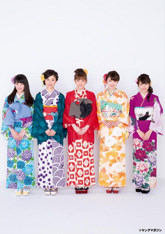Kazumi Takayama, Sayuri Matsumura, Sayuri Inoue, Kana Nakada & Kotoko Sasaki #Nogizaka46 #kimono #着物