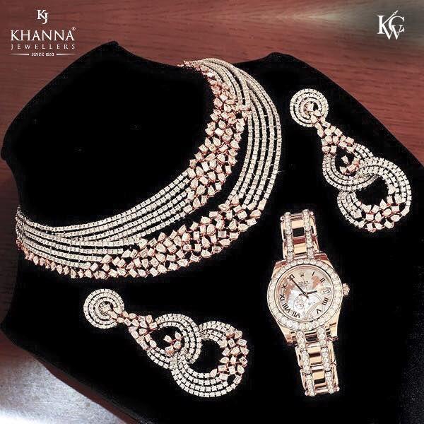 Artificial Heavy Bridal Jewellery Set Diamond Necklace Set