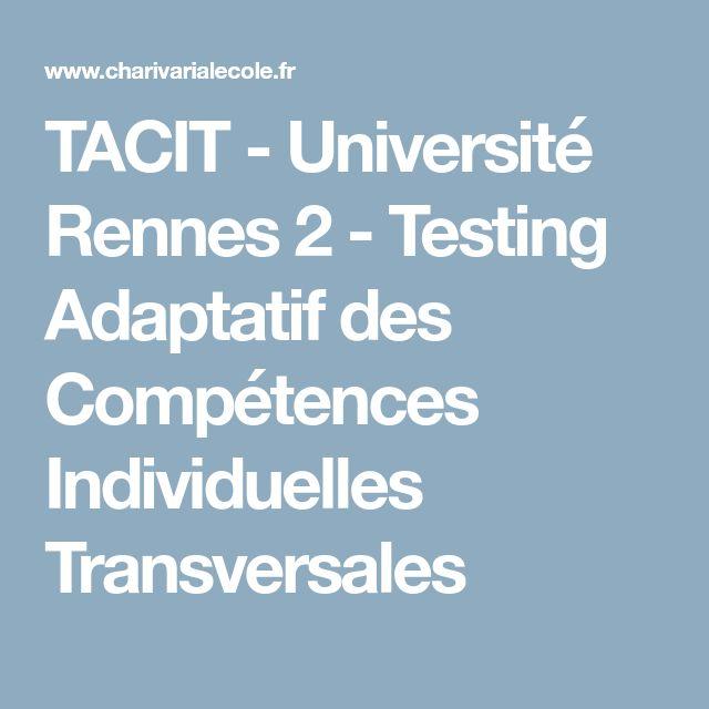 TACIT - Université Rennes 2 - Testing Adaptatif des Compétences Individuelles Transversales