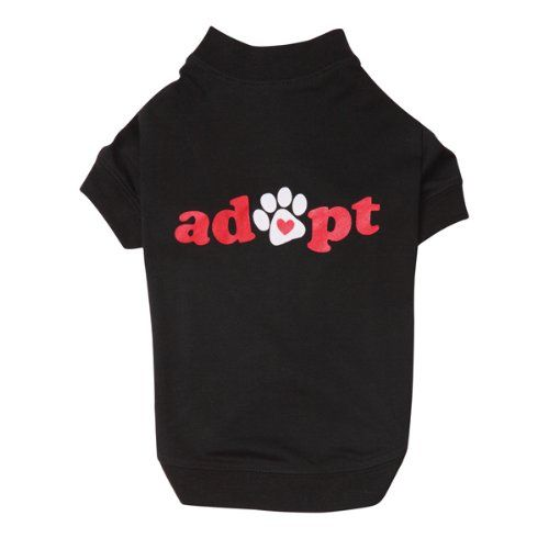 Casual Canine Polyester/Cotton Adopt Dog Tee, Medium, 16-Inch, Black