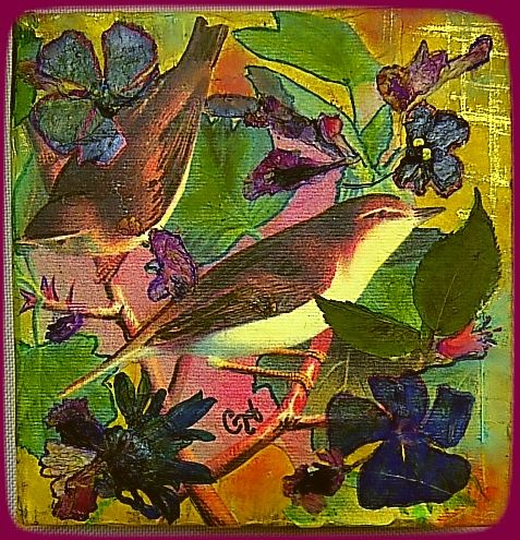 """""""Finch in Love"""" ♥ Feb-2017 by CH Original art, collage, mixed media, gelato, dried/pressed flowers & leaves on reclaimed wood.  4¾ """" x 4¾"""""""